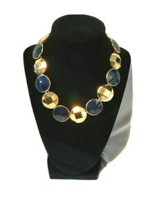 Vintage-Monet-Gold-Tone-and-Blue-Choker-Adjustable-Necklace
