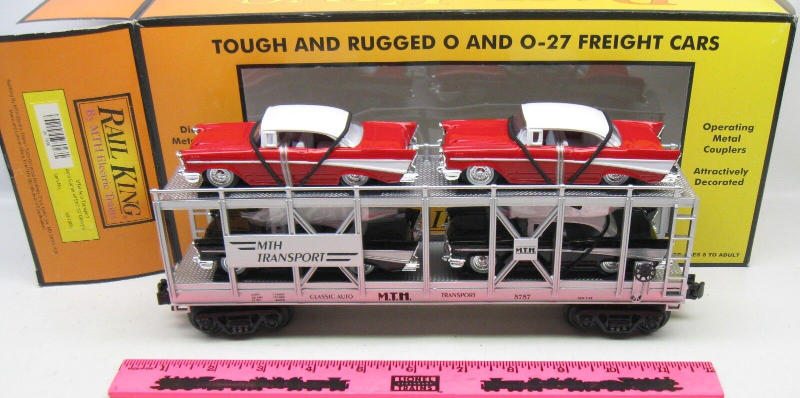 MTH  30-7656 MTH Auto Transport Auto Carrier with Ertl '57 Chevy's
