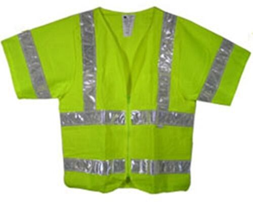 Class Three ANSI 2010 Sleeved Lime Safety Vests with Silver Stripes