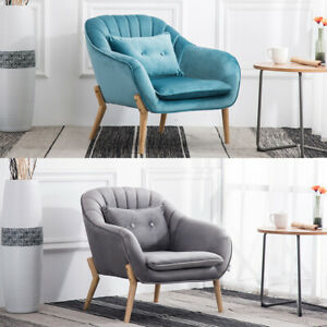 Upholstered Velvet Fabric Tub Armchair Single Seater Sofa Curved Wingback Chairs Ebay