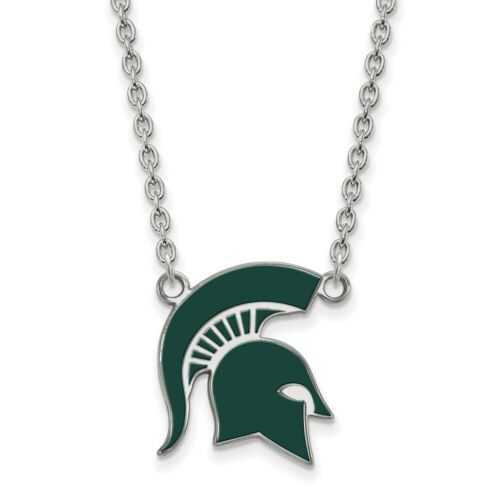 Michigan State University Spartans Large Sterling Silver Pendant Necklace 5.21gr