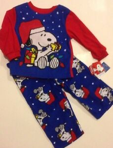 image is loading peanuts snoopy christmas pajamas boys size 2t 3t - Snoopy Christmas Pajamas