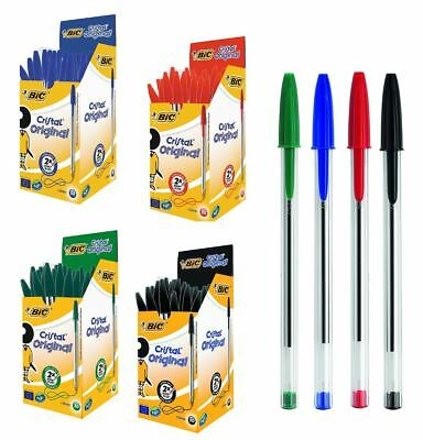 50 x Ballpoint Pens New Available in Black Blue or Red Office School UK SELLER