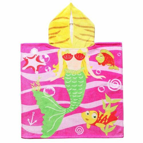 "24/"" x 47/"" 100/% Cotton Mermaid Kids Baby Hooded Bath//Beach//Pool Towel"