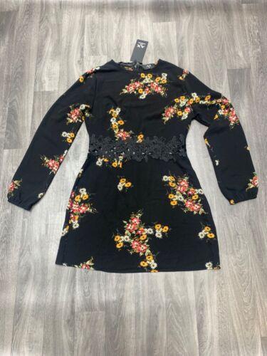 AX Paris Black Floral Print Dress Size 12