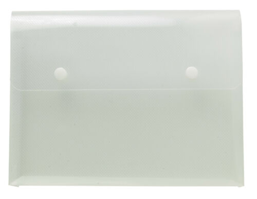 Clear A5 Plastic Folder Document Wallets Poppers x4
