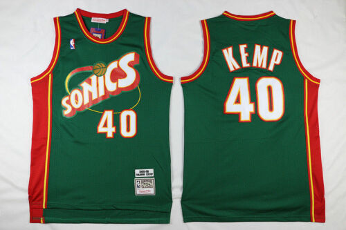 Shawn Kemp 40 Seattle Supersonics 1995-96 Green Vintage Men/'s Jersey Size S-2XL