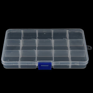 15-COMPARTMENT-CLEAR-PLASTIC-TACKLE-BOX-Fly-Fising-LURE-Tool-Case-S