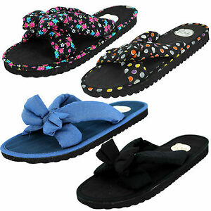 25d089ea332f49 LADIES SPOT ON FABRIC BOW FRONT SLIP ON MULE FLIP FLOP SUMMER ...