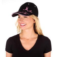 Pink Ribbon Filigree Baseball Hat - Embroidered Breast Cancer Awareness Ball Cap