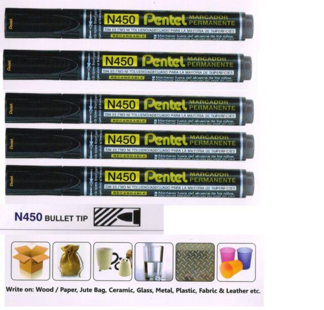 48x Pentel Black Permanent Marker Pen N850 Bullet Tip METAL GLASS WOOD