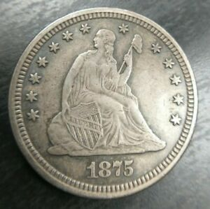 1875-P-Seated-Liberty-Quarter-Extremely-Fine-XF-or-About-Uncirculated-AU