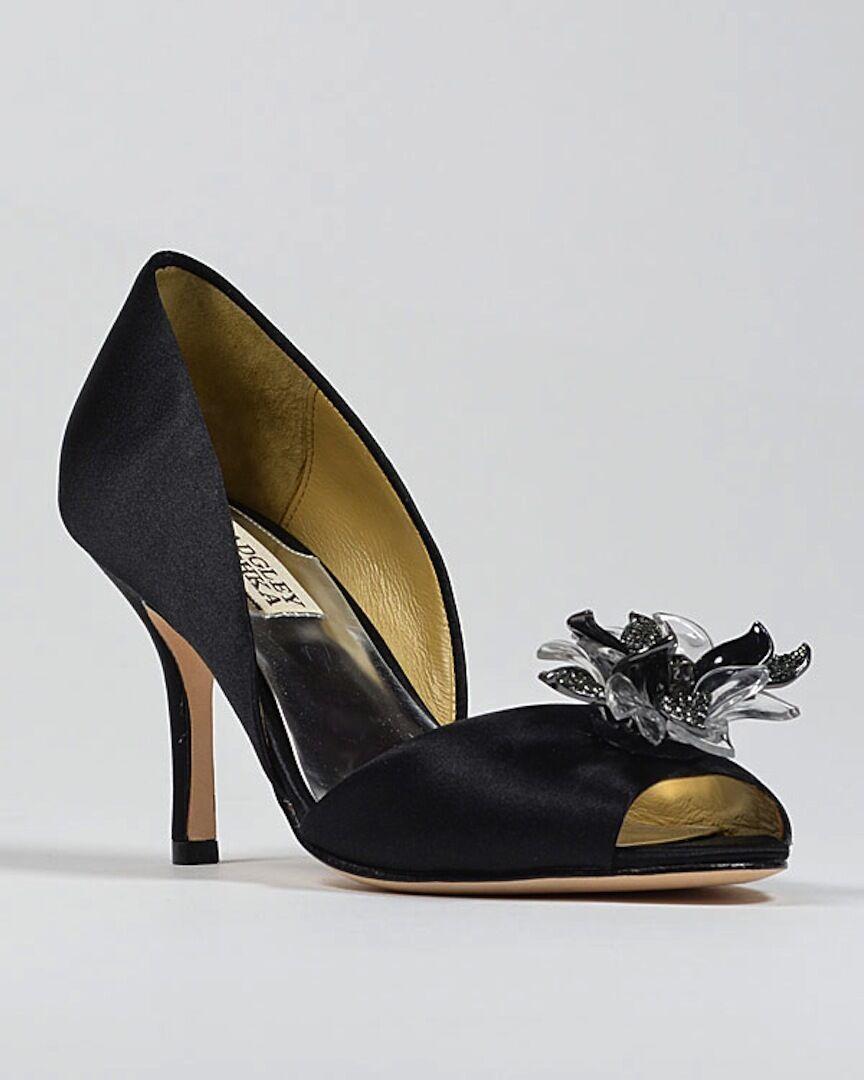 Nuevo En Caja Badgley Mischka Mischka Mischka Clarissa d 'Orsay Tacón Bomba de punta abierta sandalias zapatos 9,5 Negro  ganancia cero