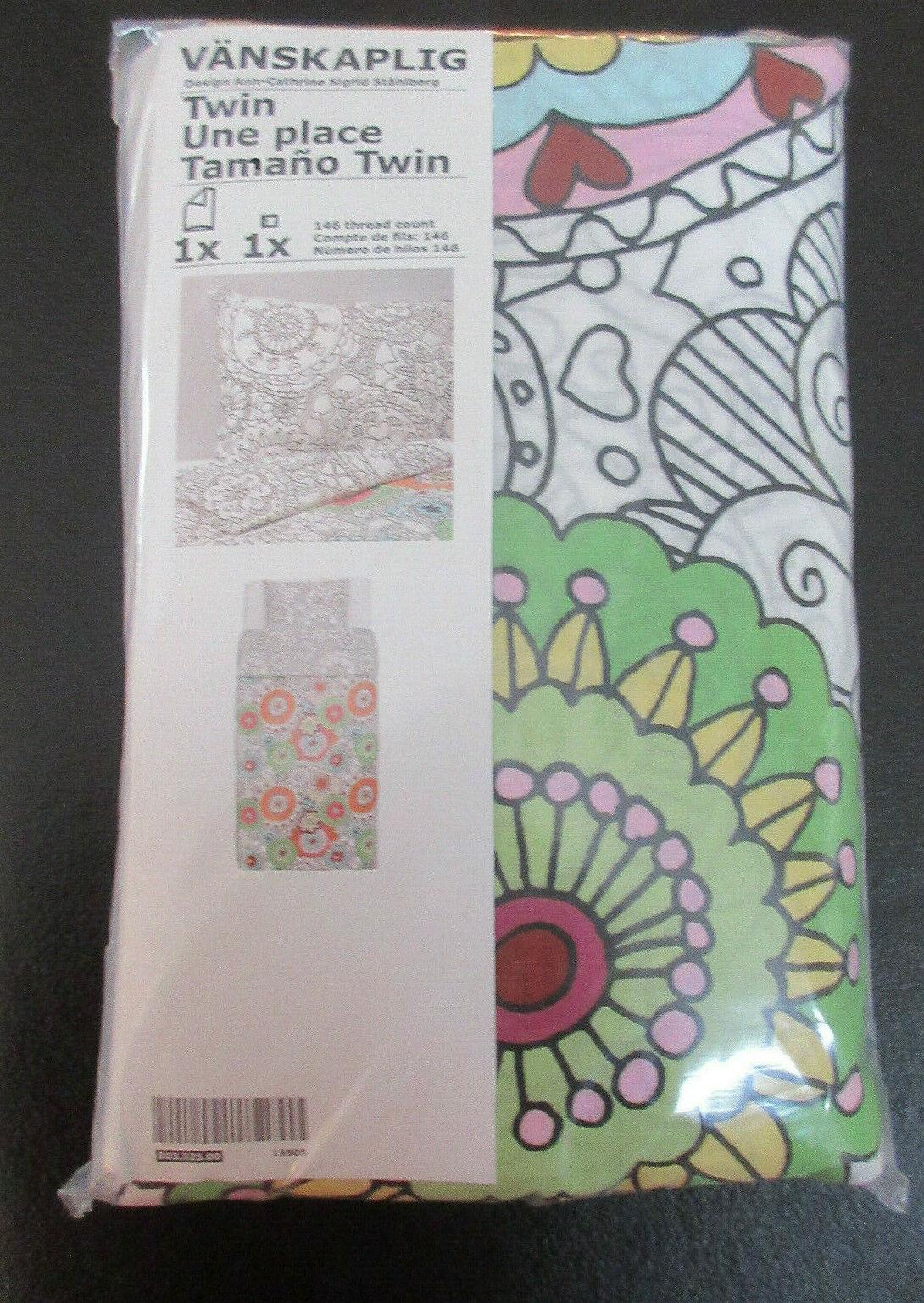 Ikea Vanskaplig Twin Duvet Cover and Pillowcase Multicolor 803.325.00 Girl Boy