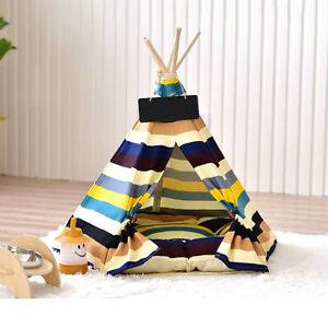 Removable-Canvas-striped-Pet-Kennels-Pet-Dog-Cat-Teepee-Play-Tent-House-Bed-Pop