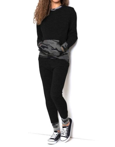 New Womens Ladies Camouflage Sports Lightweight Loungewear Set Joggers Tracksuit