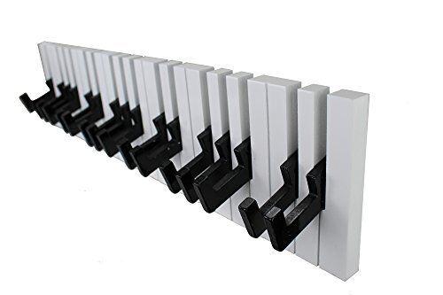GMMH DuNord Design - Coat Hooks in Piano-Key Design - 16 Hooks - BlackWhite