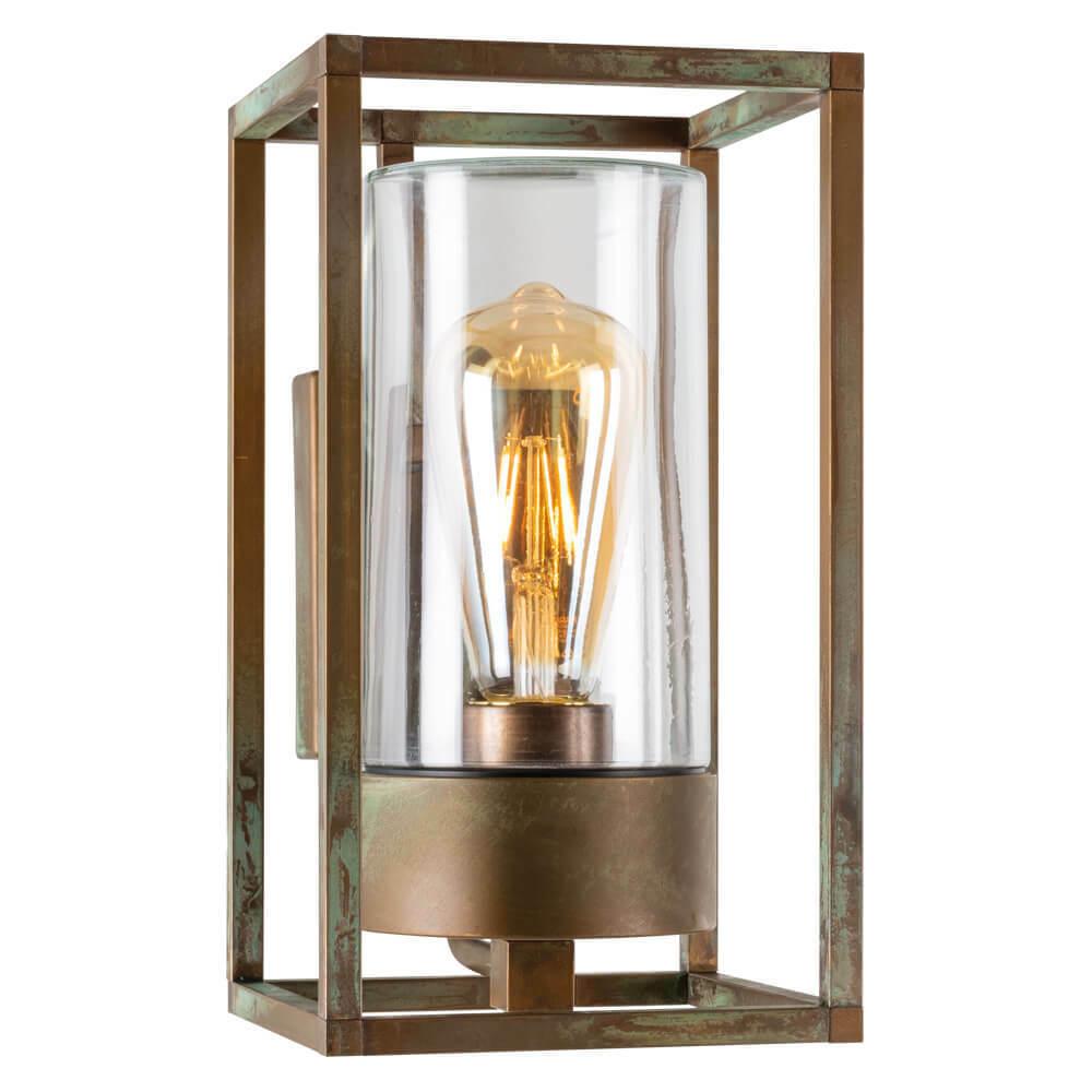 Außenwandleuchte Lampe Außenlampe messingguss patiniert  Glas klar seefest IP44