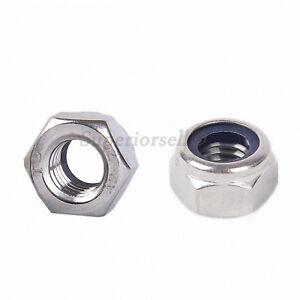 M4 M5 M6 M8 M10 M12 Hex Nyloc Nylon Insert Locking Nuts - SUS201 Stainless Steel