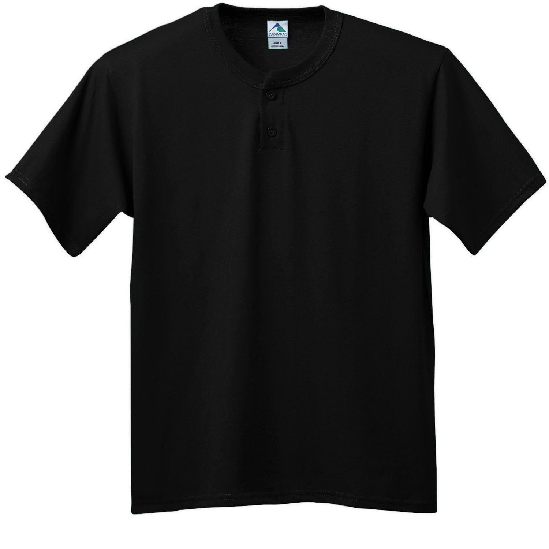 Augusta Sportswear Men's Two Button Short Sleeve Jersey Baseball T-Shirt. 643