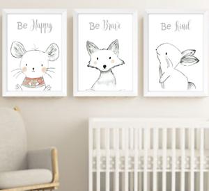 Hand Drawn Animals Nursery Prints Set