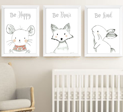 Hand Drawn Animals Nursery Prints Set Monochrome Baby Room Pictures Wall Art Ebay