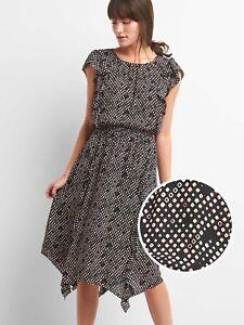 Gap-Cap-sleeve-flutter-midi-dress-black-print-Sz-XXL-133122