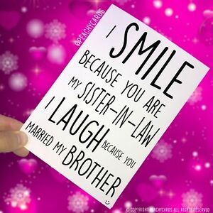Details About Funny Birthday Cards Wedding Card For Sister In Law Smile PC403