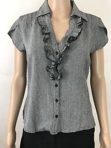Carole-Little-Women-039-s-Blouse-Size-S-Casual-cap-sleeve-gray-amp-black-Linen-blend