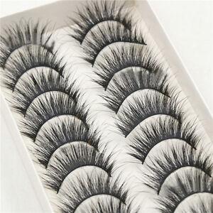10-Pairs-Box-Long-Natural-Makeup-Black-Handmade-Thick-Fake-False-Eyelashes-New