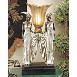 Art-Deco-Peacock-Maidens-Design-Toscano-Hand-Painted-20-034-Tabletop-Torchiere