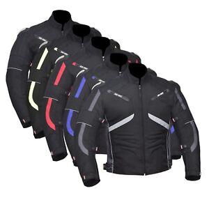 Moto-Cordura-Uomo-Giacca-Impermeabile-Tessuto-Ce-Rinforzato