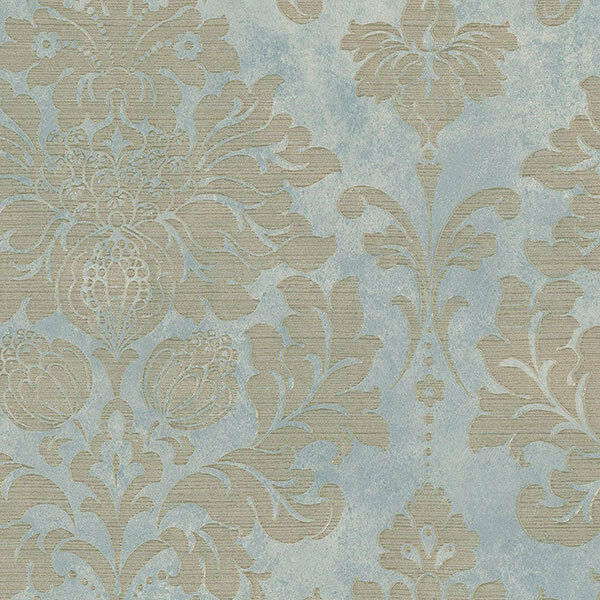 Gorgeous Gray Blue Gold Damask Wallpaper MD29418 Double Roll Bolts FREE SHIPPING