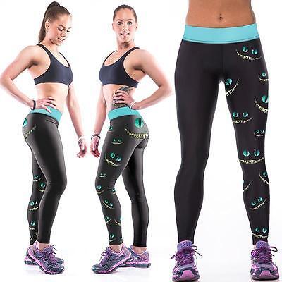 Womens Cheshire Cat Owl Printed Yoga Pants Stretch Sport Fitness Leggings Jogger