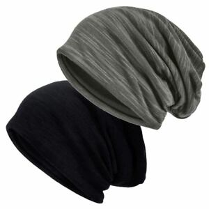 c2612b4bab49e Slouch Beanie Hat Unisex Winter Warm Lined Jersey Skull Cap Thin ...