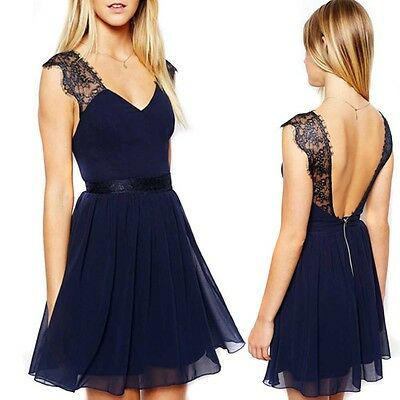 Sexy Summer Party Evening Cocktail Navy Blue Sleeveless Open Back Lace Dress HG