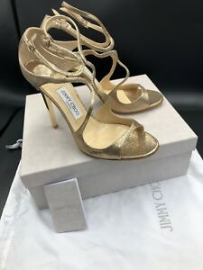 Uk Choo Leather Shoes Heels Size 'lance' Gold Glitter Sandals Jimmy rdChxtQs
