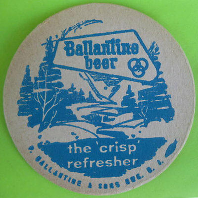 "1960s BALLANTINE BEER { THE /'CRISP/' REFRESHER } UNUSED BEER COASTER 3 1//2/"" Rd"