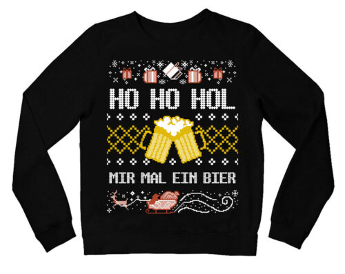 HO HO HOL MIR MAL EIN BIER Ugly Christmas Sweatshirt Weihnachtspullover Sweat We
