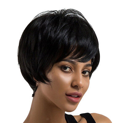 Lady Real Human Hair Black Wig Short Hairpiece