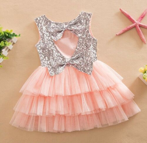 Girls Sparkling Sequin Bows Tulle Dress Princess Birthday Party Wedding Gift