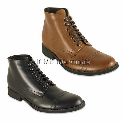 Mens Victorian Edwardian Vintage style boots Oak Tree Farms Howitzer black brown