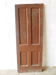 Antique 1800/'s Wooden DOOR Interior Five Panel Raised Victorian Style Fir ORNATE