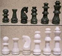 Chess Set With Marble 16 Board & Green And White Pieces 3 3/8 Kings