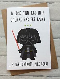 Personalised Handmade Star Wars Birthday Card Darth Vader Quirky
