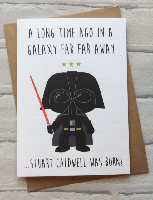 Personalised Handmade Star Wars Birthday Card Darth Vader Quirky Funny Geeky