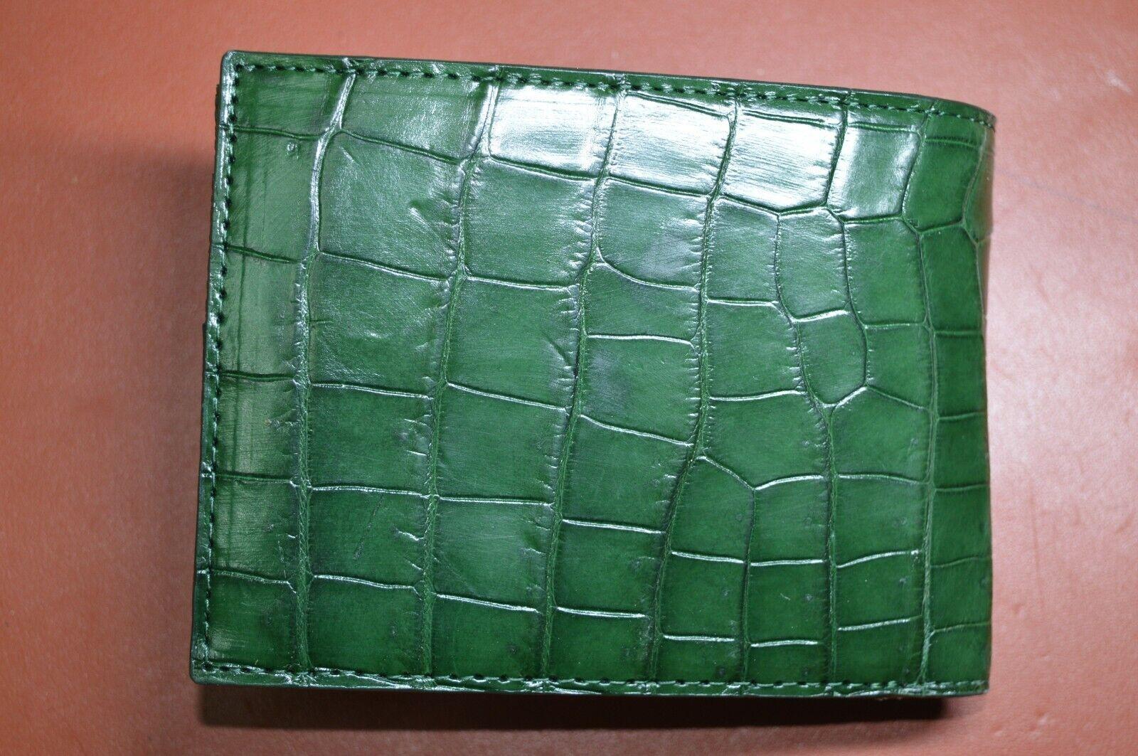GENUINE Alligator,CROCODILE s bally Leather Skin MEN'S BIFOLD WALLET
