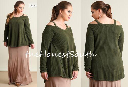 NWT UMGEEGreen Soft RibbedKnit Open Shoulder Paneled Tunic Top Sweater XL