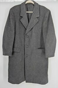 Stratojac Long Wool Trench Coat Men's Size 44 Charcoal Gray Vent Made in USA
