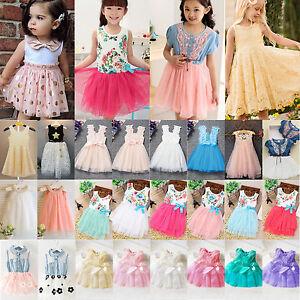 Infantil-Ninas-Tul-Vestido-Con-Tutu-Flor-camiseta-falda-princesa-Verano